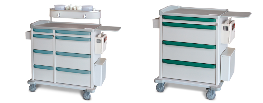 two sets of medical cart