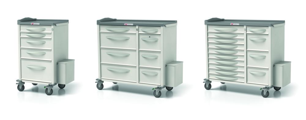 three sets of medical cart